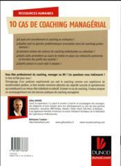10 cas de coaching managérial - 4ème de couverture - Format classique