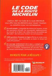 Code de la route Michelin (édition 2021) - 4ème de couverture - Format classique