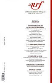 La nouvelle revue francaise N.648 - 4ème de couverture - Format classique