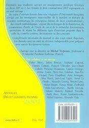 Annales droit constitutionnel 2007 ; méthodologie & sujets corrigés - 4ème de couverture - Format classique