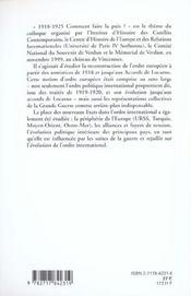 Comment Faire La Paix ; 1918-1925 - 4ème de couverture - Format classique