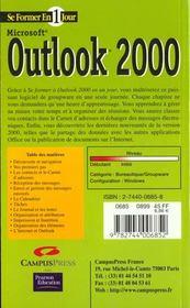 Se Former A Outlook 2000 En Un Jour - 4ème de couverture - Format classique