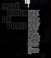 Materiaux de paris - l'etoffe de la ville de l'antiquite a nos jours - 4ème de couverture - Format classique