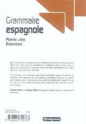 Grammaire espagnole ; points clés, exercices - 4ème de couverture - Format classique