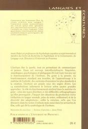 Ecriture approches en sciences cognitives - 4ème de couverture - Format classique