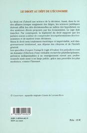 Droit Au Defi De L Economie - 4ème de couverture - Format classique