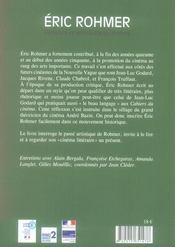 Eric Rohmer.Evidence Et Ambiguite Du Cinema - 4ème de couverture - Format classique