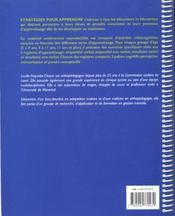 Strategies pour apprendre - 4ème de couverture - Format classique