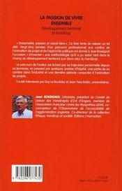 La passion de vivre ensemble ; développement territorial et handicap - 4ème de couverture - Format classique
