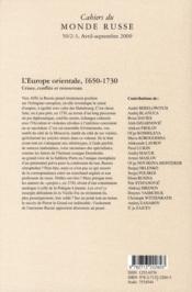 Cahiers Du Monde Russe Et Sovietique N.50 ; 2/3 ; Entre Ancien Et Nouveau : L'Europe Orientale Fin Xvie-Xviiie Siècle - 4ème de couverture - Format classique