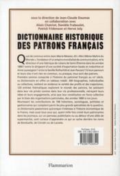 Dictionnaire historique des patrons francais - 4ème de couverture - Format classique