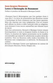 Lettres à Christophe de Beaumont - 4ème de couverture - Format classique