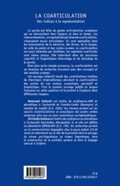 La coarticulation ; des indices à la représentation - 4ème de couverture - Format classique
