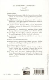 Revue La Psychiatrie De L'Enfant N.54/2 - 4ème de couverture - Format classique