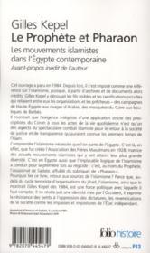 Le prophète et pharaon - 4ème de couverture - Format classique
