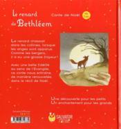 Le renard de Béthléem - 4ème de couverture - Format classique