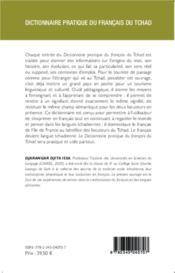 Dictionnaire pratique du français du Tchad - 4ème de couverture - Format classique