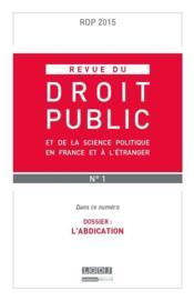 REVUE DU DROIT PUBLIC ; 2015 t.1 - Couverture - Format classique