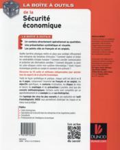 La boîte à outils ; la sécurité économique - 4ème de couverture - Format classique