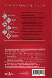 Code constitutionnel et des droits fondamentaux, commenté (édition 2016) - 4ème de couverture - Format classique