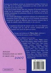 Annales introduction au droit et droit civil 2007 ; méthodologie & sujets corrigés - 4ème de couverture - Format classique