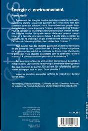 Énergie et environnement - 4ème de couverture - Format classique