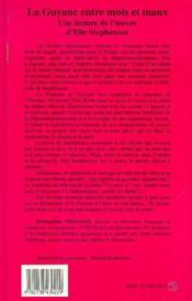 La Guyane entre mots et maux ; une lecture de l'oeuvre d'Elie Stepehnson - Couverture - Format classique