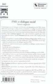 Experimenter le dialogue social en pme - 4ème de couverture - Format classique