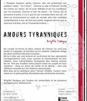 Amours tyranniques - 4ème de couverture - Format classique