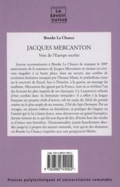 Jacques Mercanton ; voix de l'Europe secrète - 4ème de couverture - Format classique