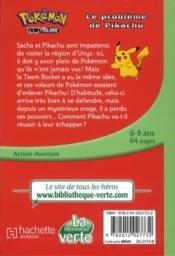 Pokémon t.1 ; le problème de Pikachu - 4ème de couverture - Format classique