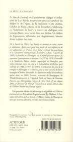 La fête de l'instant ; dialogues avec Georges Banu - 4ème de couverture - Format classique