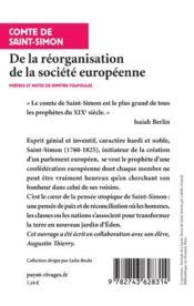 De la réorganisation de la société européenne ; de la nécessité et des moyens de rassembler les peuples de l'Europe en un seul corps politique - 4ème de couverture - Format classique