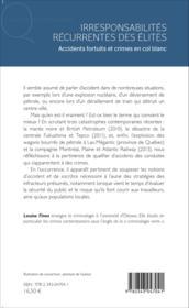 Irresponsabilités récurrentes des élites ; accidents fortuits et crimes en col blanc - Couverture - Format classique
