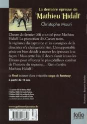Mathieu Hidalf t.5 ; la dernière épreuve de Mathieu Hidalf - 4ème de couverture - Format classique
