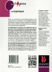 La logistique - 4ème de couverture - Format classique