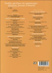 Revue Empan N.101 ; Troubles Spécifiques Des Apprentissages : Définitions, Parcours Et Obstacles - 4ème de couverture - Format classique