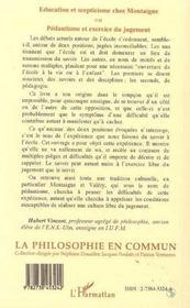 Education Et Scepticisme Chez Montaigne Ou Pedantisme Et Exercice Du Jugement - 4ème de couverture - Format classique