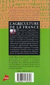 L'agriculture de la france - 4ème de couverture - Format classique