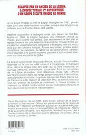 Histoire de la Légion de 1831 à nos jours - 4ème de couverture - Format classique