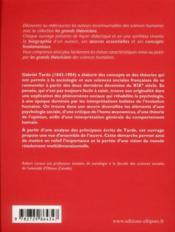 Gabriel Tarde ; vie, oeuvres, concepts - 4ème de couverture - Format classique