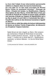 L'Espace Dans Les Oeuvres Butoriennes - 4ème de couverture - Format classique
