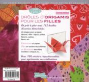 Drôles d'origamis pour les filles - 4ème de couverture - Format classique