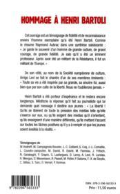 Hommage à Henri Bartoli - 4ème de couverture - Format classique