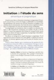 Initiation à l'étude du sens ; sémantique et pragmatique - 4ème de couverture - Format classique