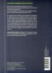 La littérature espagnole contemporaine - 4ème de couverture - Format classique