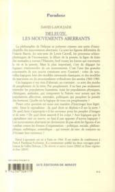 Deleuze, les mouvements aberrants - 4ème de couverture - Format classique