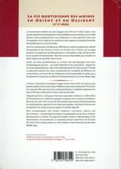Vie quotidienne des moines en orient et en occident - 4ème de couverture - Format classique