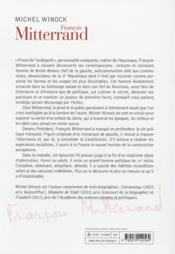 François Mitterrand - 4ème de couverture - Format classique