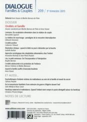 DIALOGUE N.209 ; oralités et famille - 4ème de couverture - Format classique